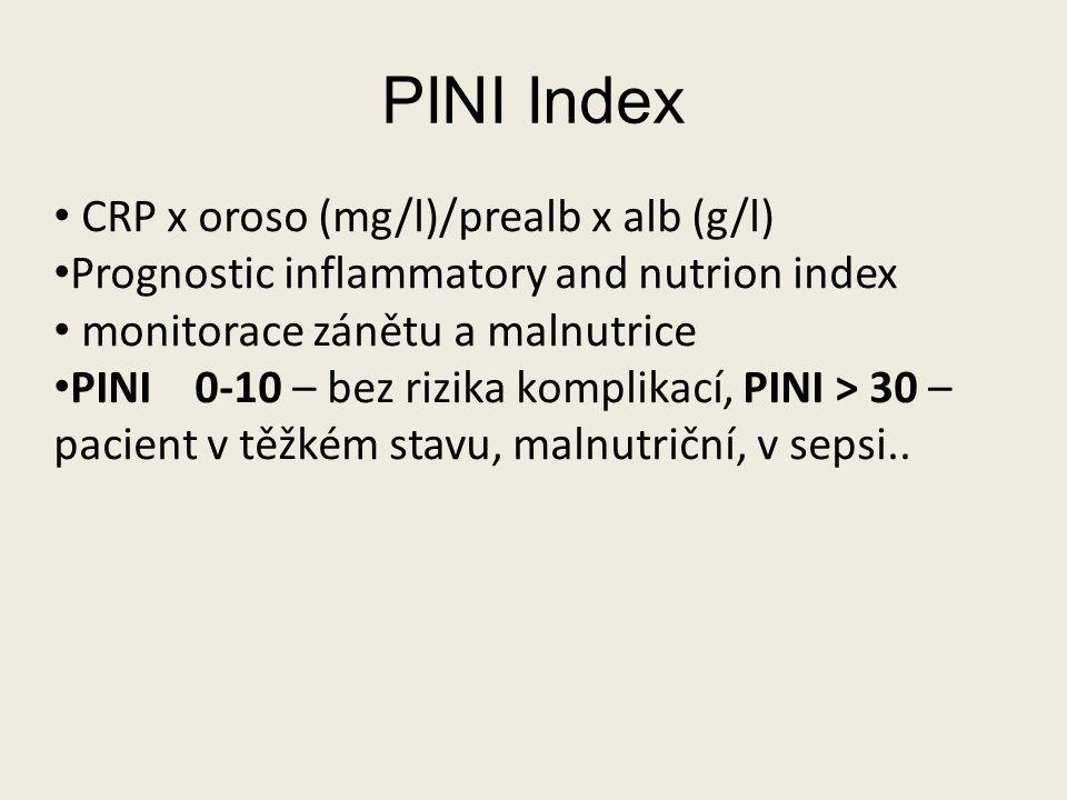 PINI Index CRP x oroso (mg/l)/prealb x alb (g/l)
