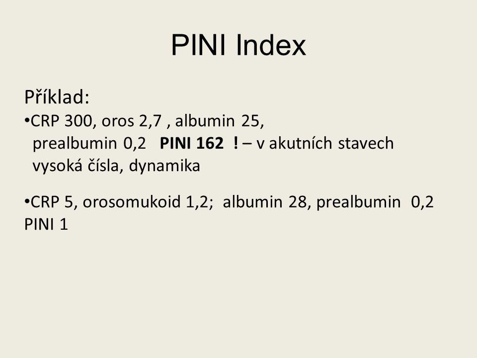PINI Index Příklad: CRP 300, oros 2,7 , albumin 25,