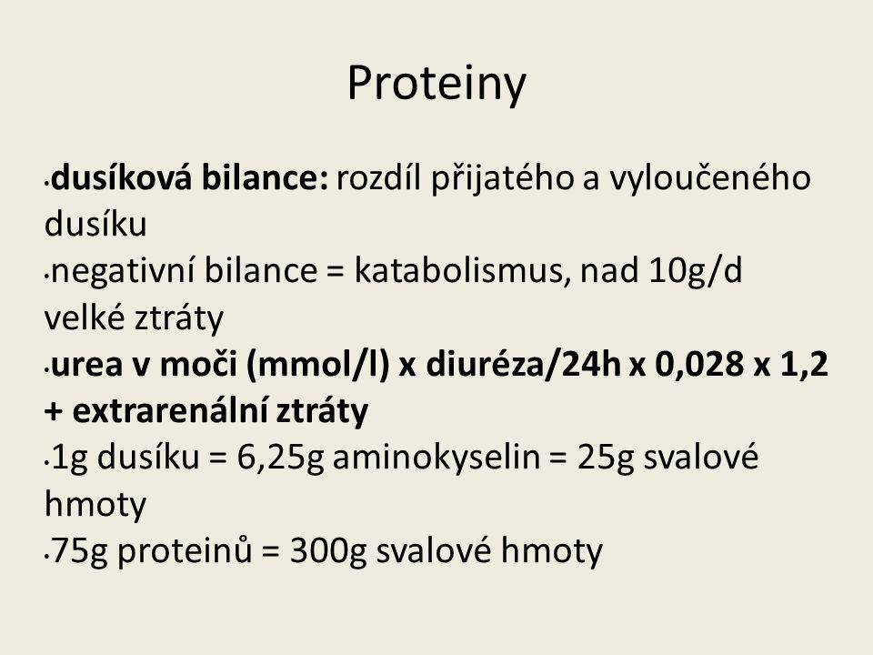 Proteiny dusíková bilance: rozdíl přijatého a vyloučeného dusíku