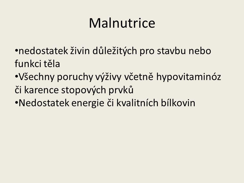 Malnutrice nedostatek živin důležitých pro stavbu nebo funkci těla