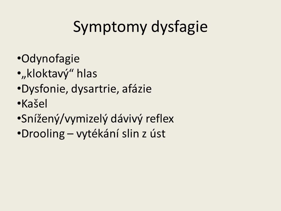 """Symptomy dysfagie Odynofagie """"kloktavý hlas"""