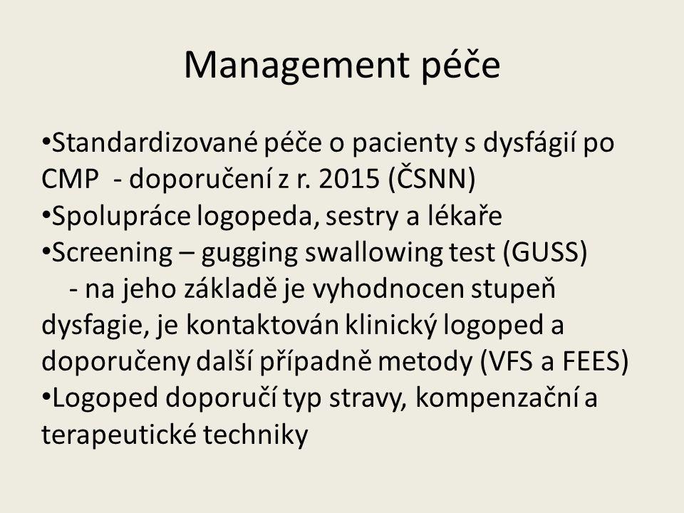 Management péče Standardizované péče o pacienty s dysfágií po CMP - doporučení z r. 2015 (ČSNN) Spolupráce logopeda, sestry a lékaře.
