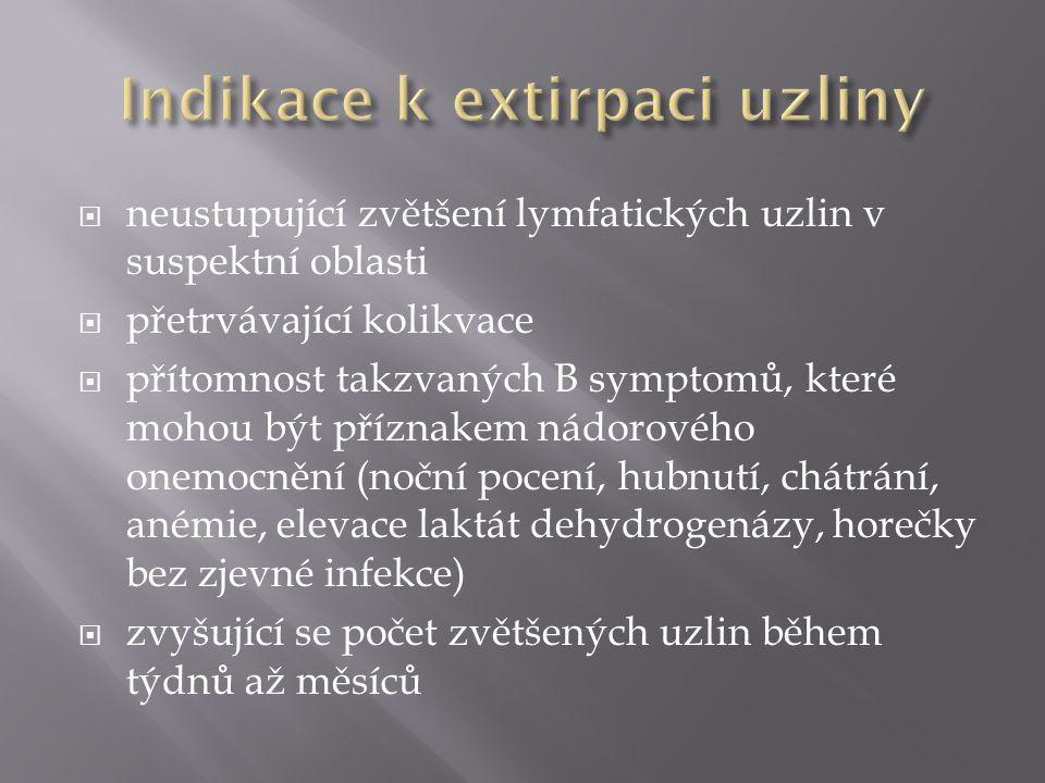 Indikace k extirpaci uzliny