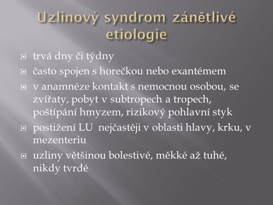 Uzlinový syndrom zánětlivé etiologie