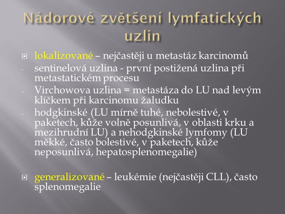 Nádorové zvětšení lymfatických uzlin