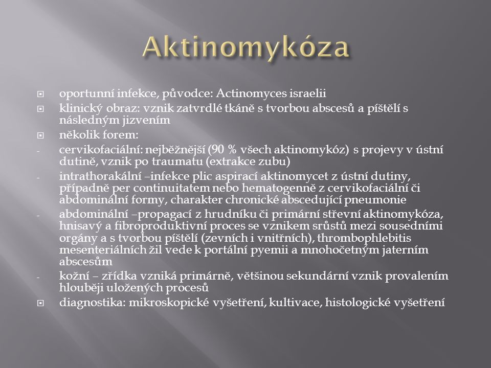 Aktinomykóza oportunní infekce, původce: Actinomyces israelii