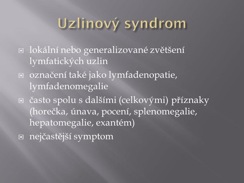 Uzlinový syndrom lokální nebo generalizované zvětšení lymfatických uzlin. označení také jako lymfadenopatie, lymfadenomegalie.