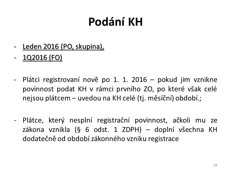 Podání KH Leden 2016 (PO, skupina), 1Q2016 (FO)