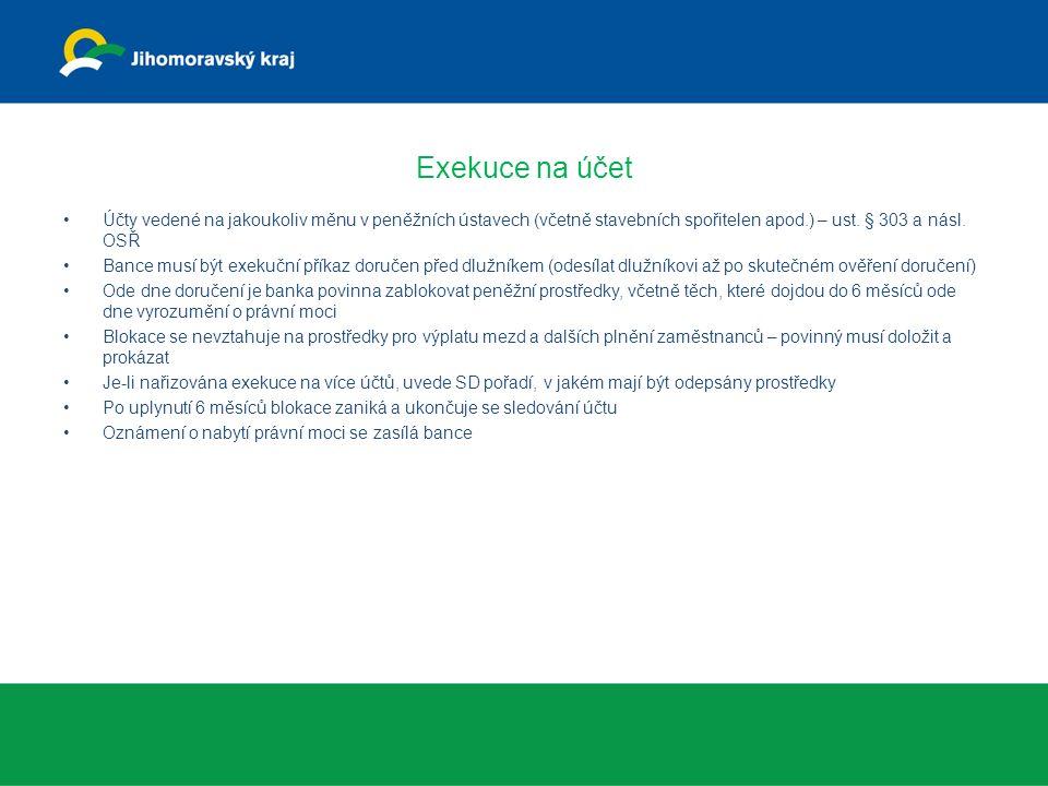 Exekuce na účet Účty vedené na jakoukoliv měnu v peněžních ústavech (včetně stavebních spořitelen apod.) – ust. § 303 a násl. OSŘ.