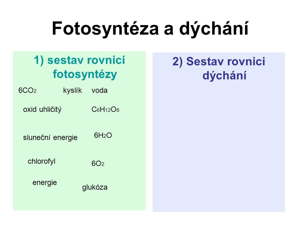 1) sestav rovnici fotosyntézy 2) Sestav rovnici dýchání