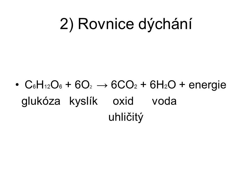 2) Rovnice dýchání C6H12O6 + 6O2 → 6CO2 + 6H2O + energie