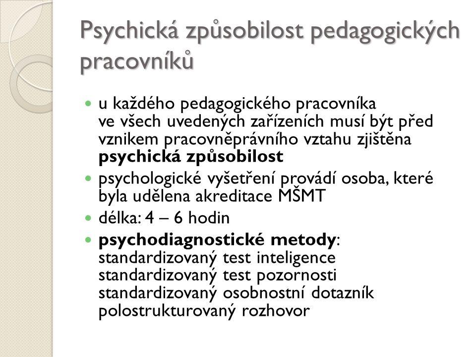 Psychická způsobilost pedagogických pracovníků