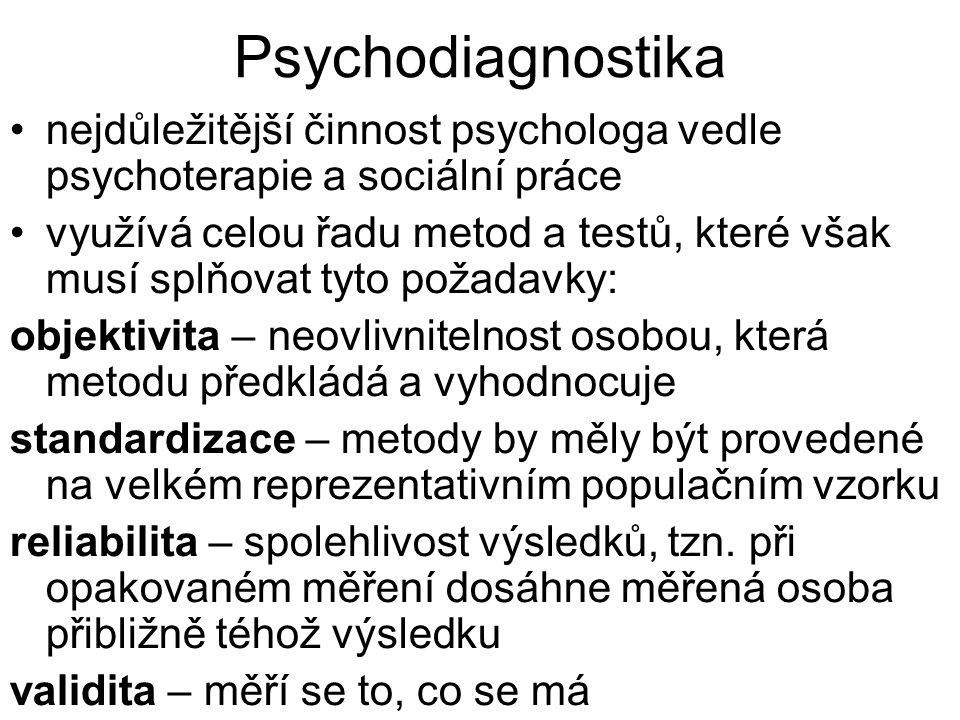 Psychodiagnostika nejdůležitější činnost psychologa vedle psychoterapie a sociální práce.