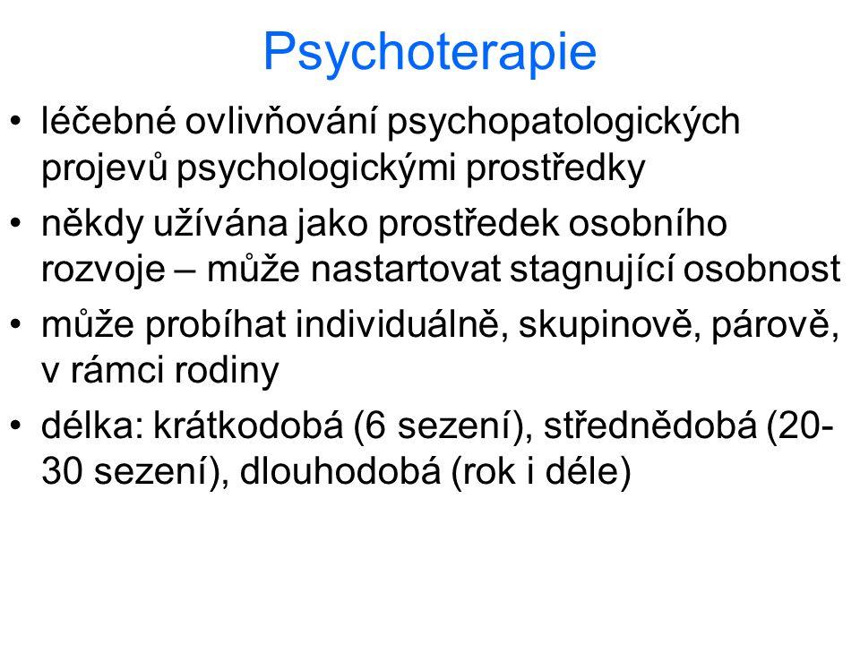 Psychoterapie léčebné ovlivňování psychopatologických projevů psychologickými prostředky.