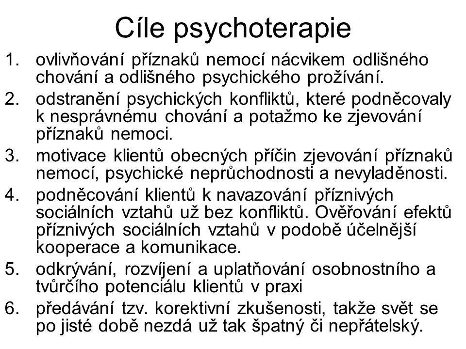 Cíle psychoterapie ovlivňování příznaků nemocí nácvikem odlišného chování a odlišného psychického prožívání.