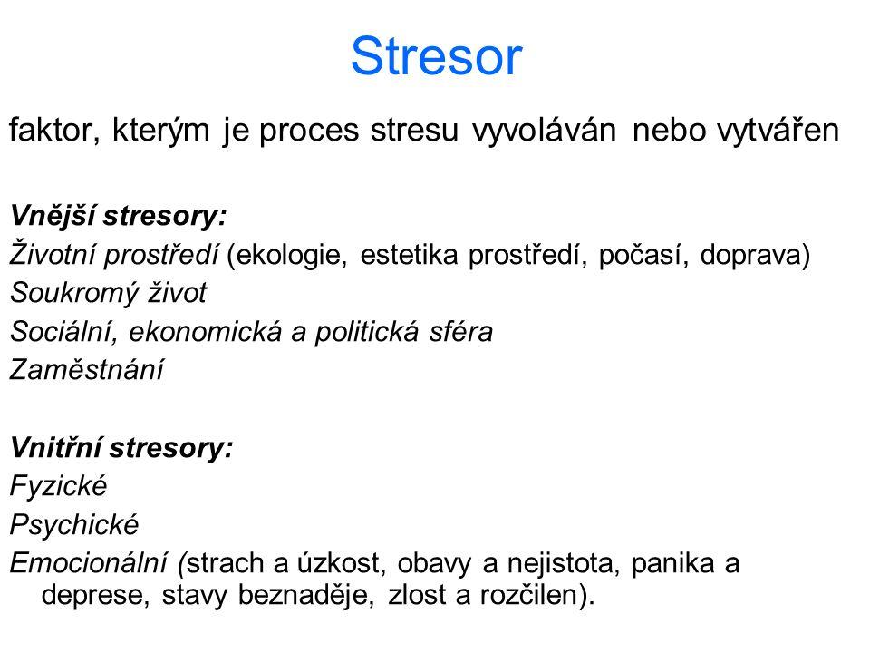 Stresor faktor, kterým je proces stresu vyvoláván nebo vytvářen