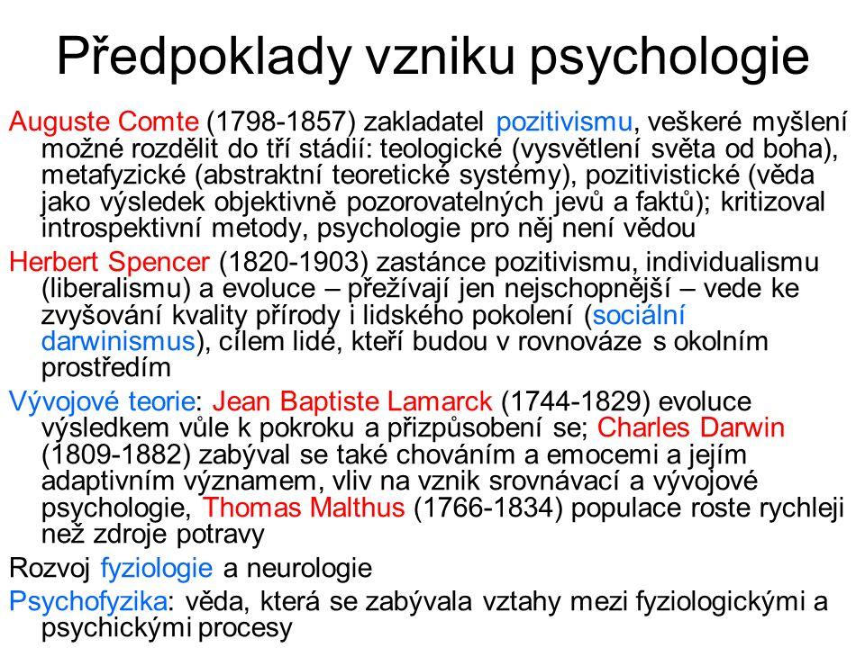 Předpoklady vzniku psychologie