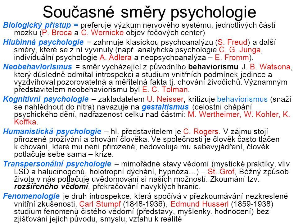 Současné směry psychologie
