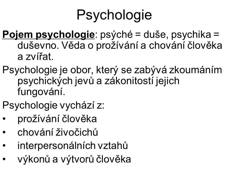 Psychologie Pojem psychologie: psýché = duše, psychika = duševno. Věda o prožívání a chování člověka a zvířat.