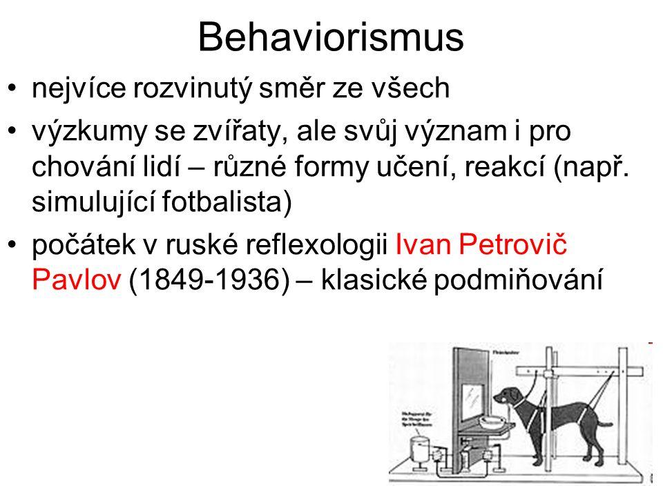 Behaviorismus nejvíce rozvinutý směr ze všech