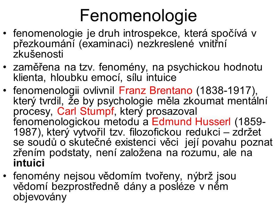 Fenomenologie fenomenologie je druh introspekce, která spočívá v přezkoumání (examinaci) nezkreslené vnitřní zkušenosti.