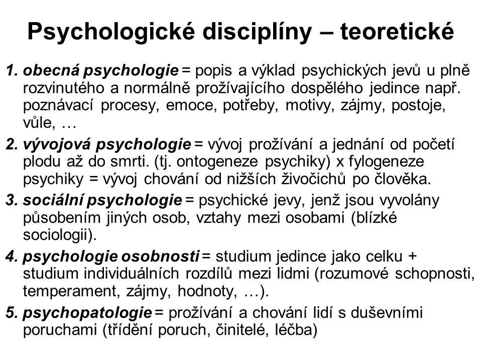 Psychologické disciplíny – teoretické