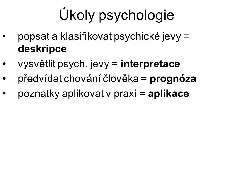 Úkoly psychologie popsat a klasifikovat psychické jevy = deskripce