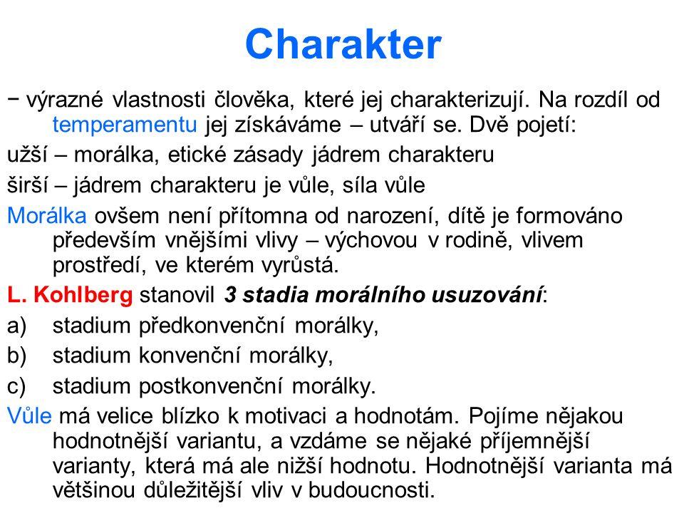 Charakter − výrazné vlastnosti člověka, které jej charakterizují. Na rozdíl od temperamentu jej získáváme – utváří se. Dvě pojetí: