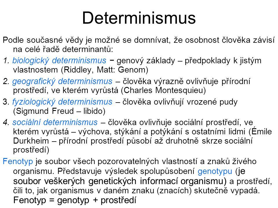 Determinismus Podle současné vědy je možné se domnívat, že osobnost člověka závisí na celé řadě determinantů: