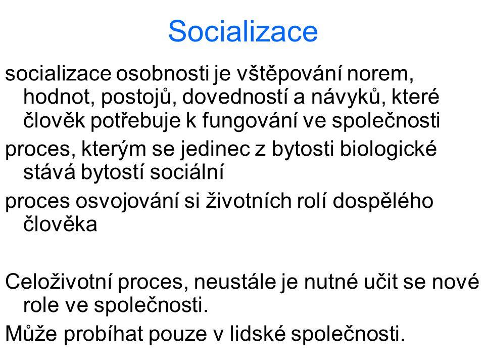 Socializace socializace osobnosti je vštěpování norem, hodnot, postojů, dovedností a návyků, které člověk potřebuje k fungování ve společnosti.