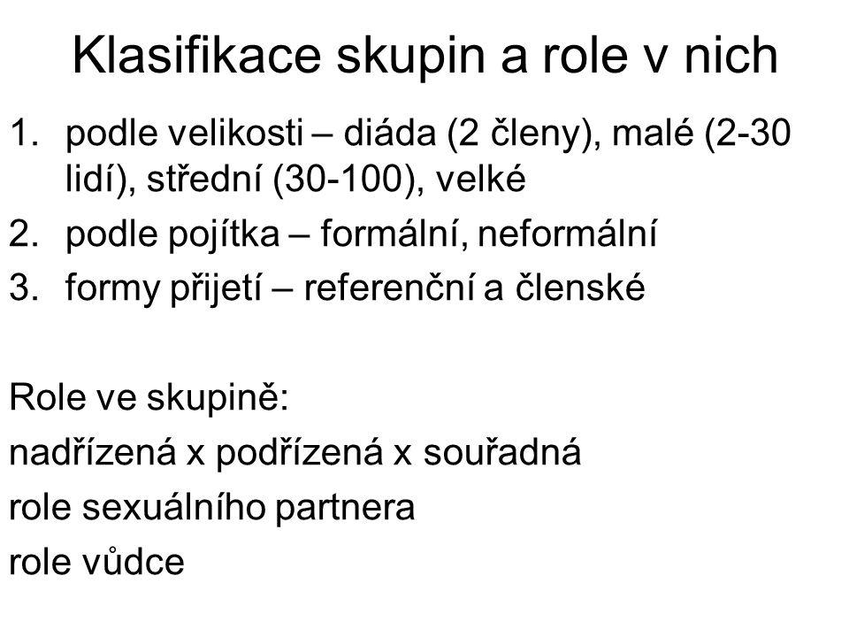 Klasifikace skupin a role v nich