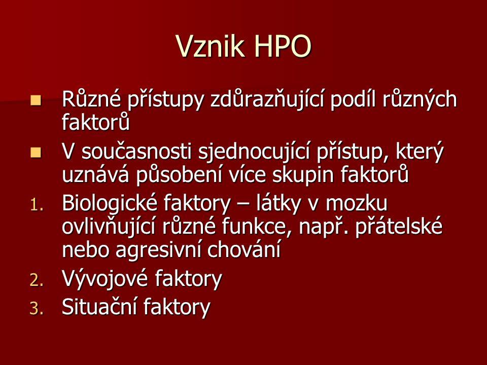Vznik HPO Různé přístupy zdůrazňující podíl různých faktorů