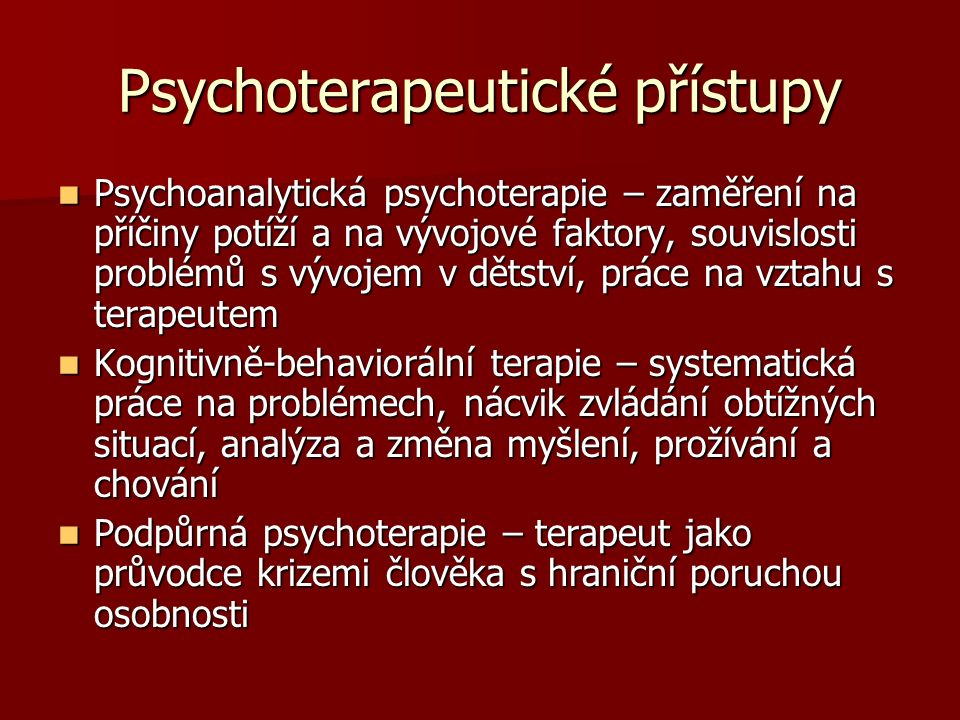 Psychoterapeutické přístupy