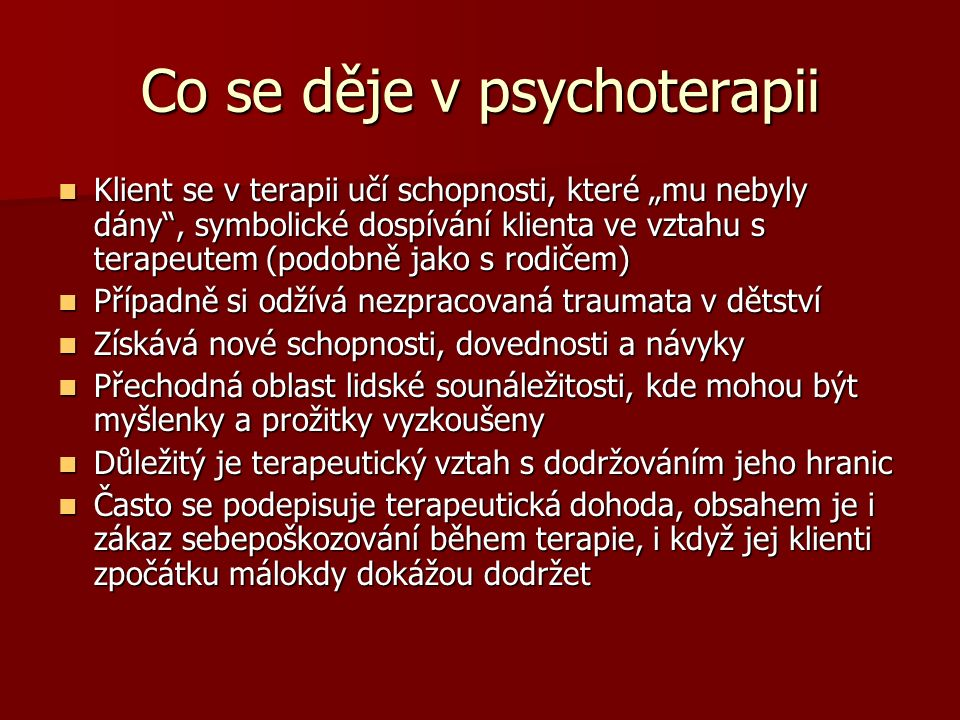 Co se děje v psychoterapii