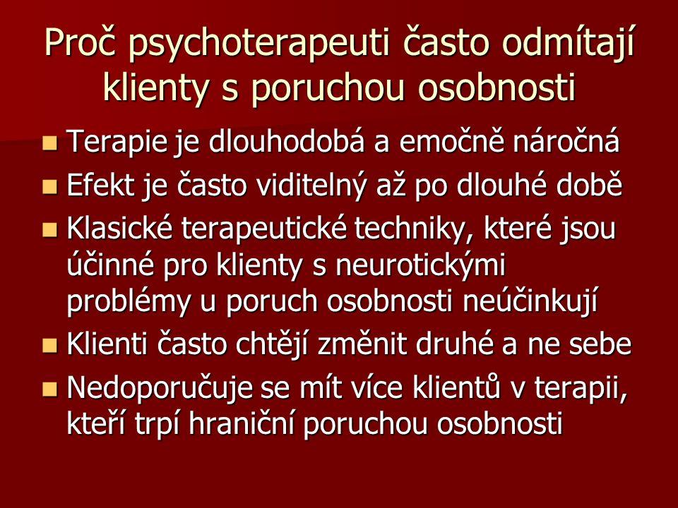 Proč psychoterapeuti často odmítají klienty s poruchou osobnosti