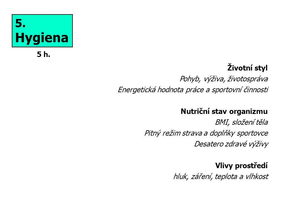 Hygiena 5. 5 h. Životní styl Pohyb, výživa, životospráva