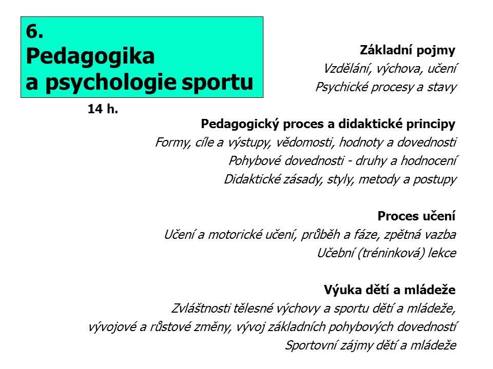 Pedagogika a psychologie sportu 6. Základní pojmy