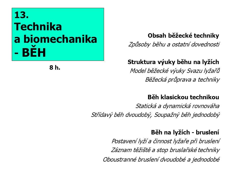 Technika a biomechanika - BĚH 13. Obsah běžecké techniky