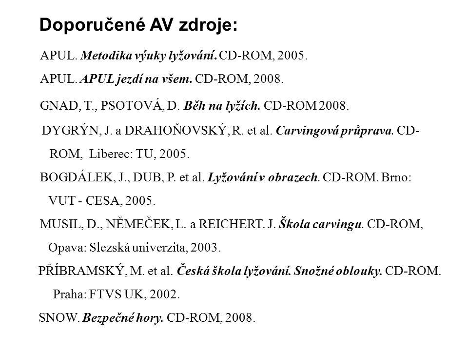 Doporučené AV zdroje: APUL. Metodika výuky lyžování. CD-ROM, 2005. APUL. APUL jezdí na všem. CD-ROM, 2008.