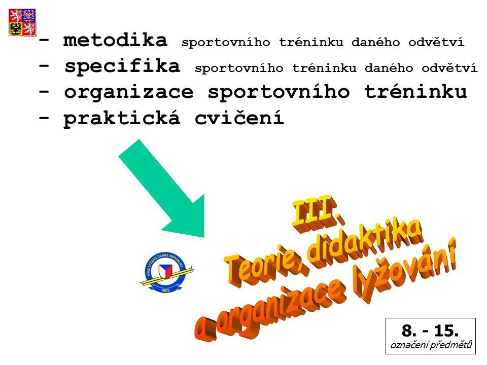 - metodika sportovního tréninku daného odvětví