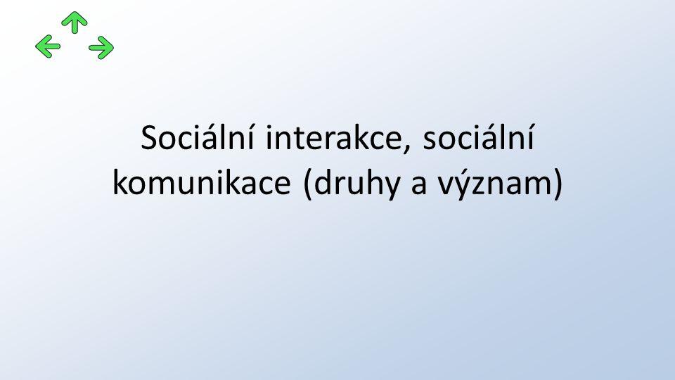 Sociální interakce, sociální komunikace (druhy a význam)