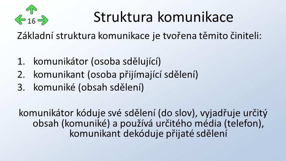 Struktura komunikace 16. Základní struktura komunikace je tvořena těmito činiteli: komunikátor (osoba sdělující)