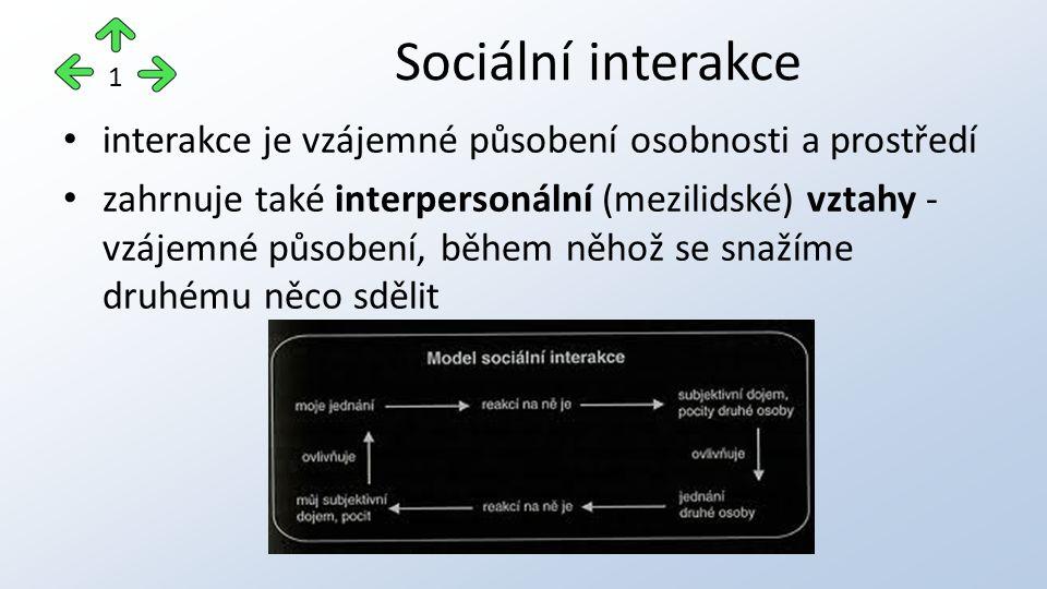 Sociální interakce 1. interakce je vzájemné působení osobnosti a prostředí.