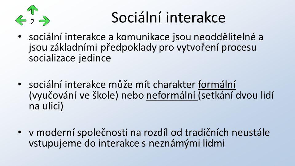 Sociální interakce 2. sociální interakce a komunikace jsou neoddělitelné a jsou základními předpoklady pro vytvoření procesu socializace jedince.