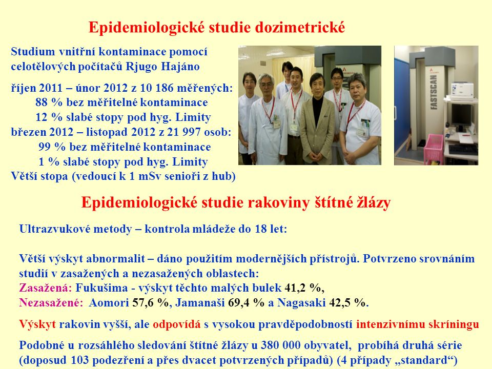 Epidemiologické studie dozimetrické