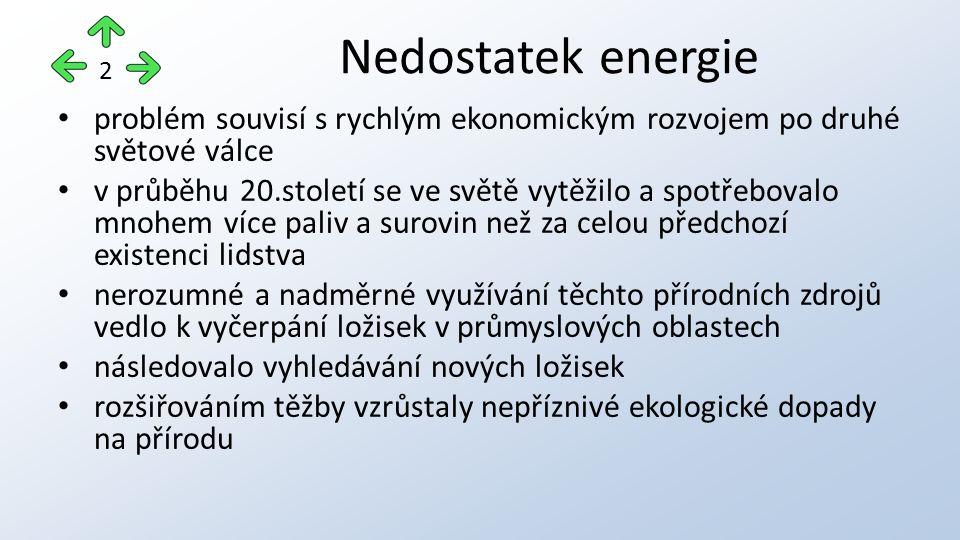 Nedostatek energie 2. problém souvisí s rychlým ekonomickým rozvojem po druhé světové válce.