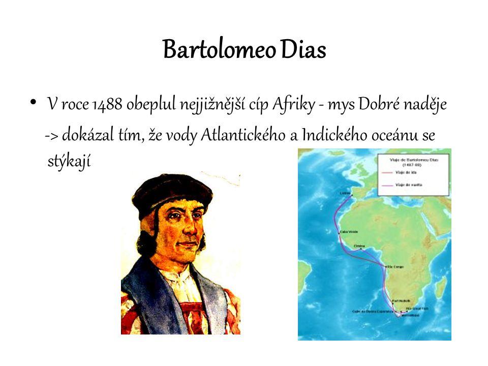 Bartolomeo Dias V roce 1488 obeplul nejjižnější cíp Afriky - mys Dobré naděje.