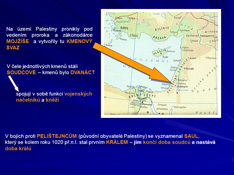 Na území Palestiny pronikly pod vedením proroka a zákonodárce MOJŽÍŠE a vytvořily tu KMENOVÝ SVAZ