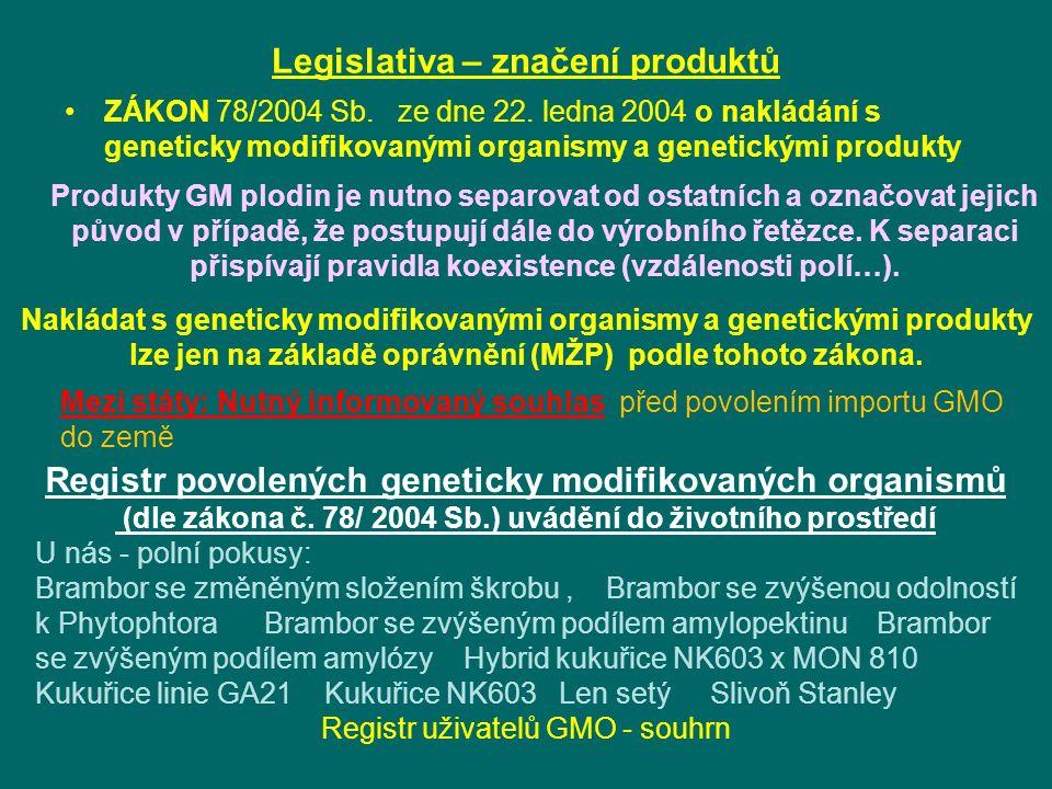 Legislativa – značení produktů