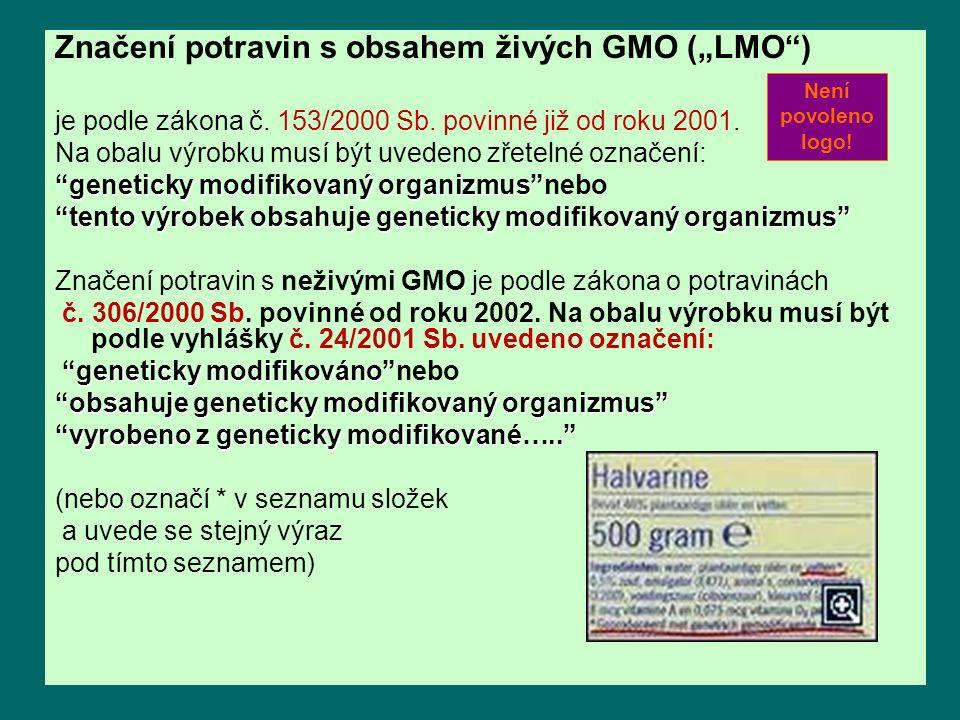 """Značení potravin s obsahem živých GMO (""""LMO )"""